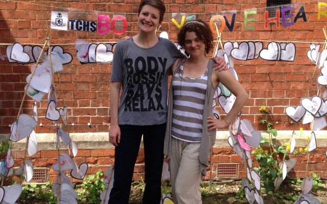 BodyGossipRuth & drama facilitator Francine at Thomas Cowley School in Lincolnshire for the Body Gossip Performance Project